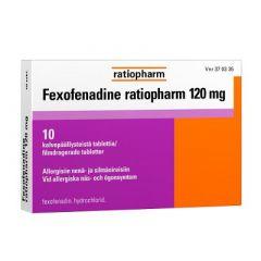 FEXOFENADINE RATIOPHARM 120 mg tabl, kalvopääll 10 fol