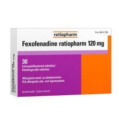 FEXOFENADINE RATIOPHARM 120 mg tabl, kalvopääll 30 fol