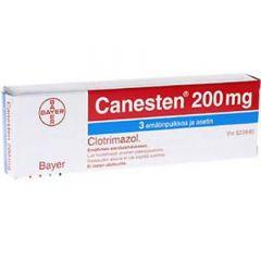 CANESTEN 200 mg emätinpuikko, tabl 3 fol